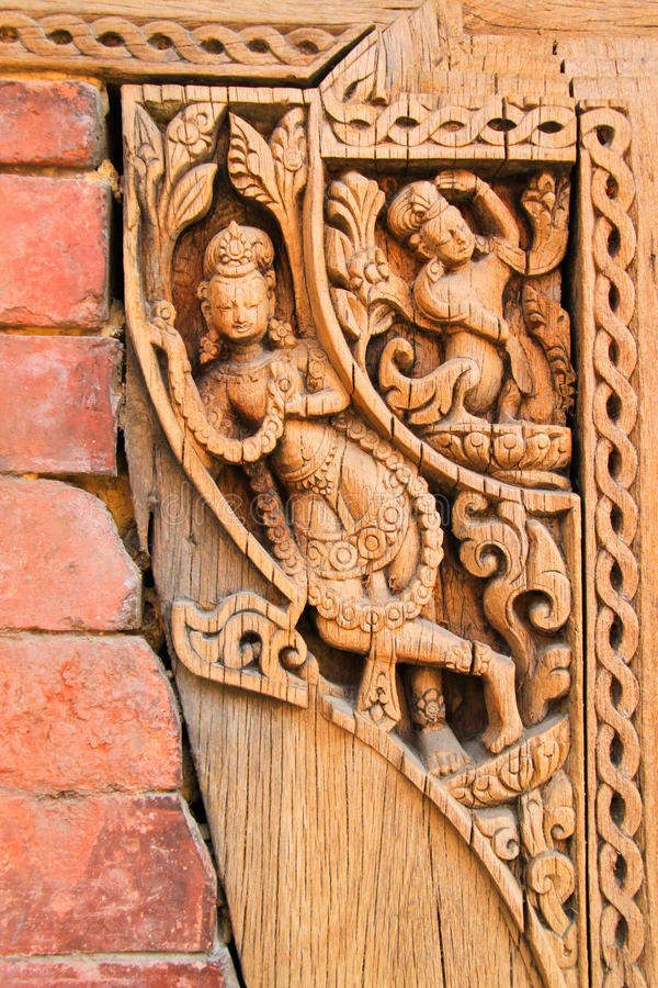 Dekorative Künste vom Holz in Nepal stockfoto