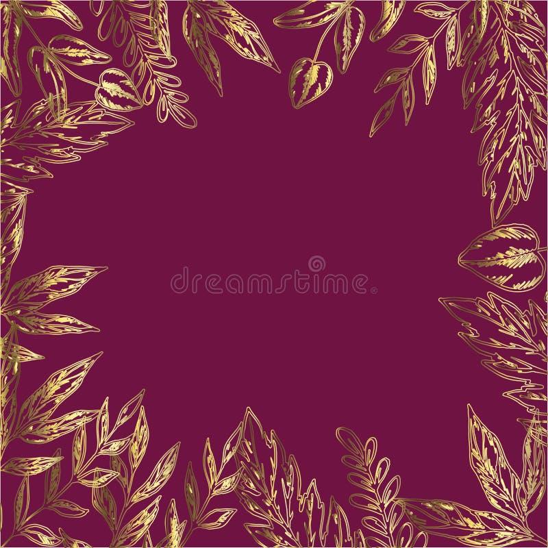Dekorative Karte mit Rahmen von ausführlichen Blättern und von Anlagen Gold auf Rot Bereite Schablone für Ihr Design und Beschrif vektor abbildung