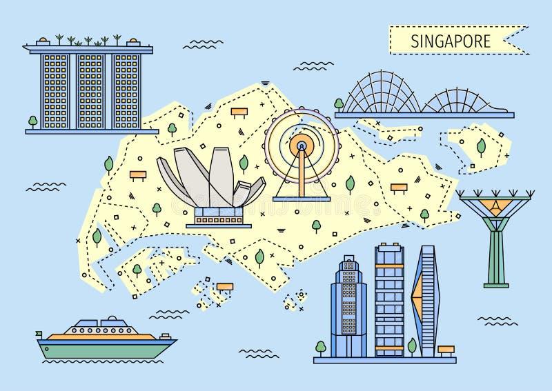 Dekorative Karte Singapurs in der flachen Linie Art stockfotografie