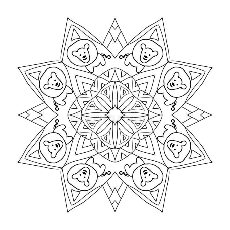 Dekorative Kinder, Die Mandala Mit Löwe Färben Stock Abbildung ...