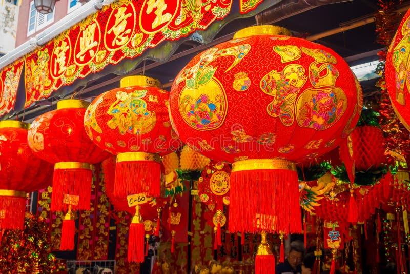 Dekorative Laternen zerstreut um Chinatown, Singapur China-` s neues Jahr Jahr des Hundes Fotos eingelassene China-Stadt stockbild