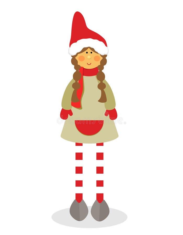 Dekorative Mädchenfigur mit Zöpfen, gestreiften Strumpfhosen und Sankt-Hut für das neue Jahr auf einem weißen Hintergrund Flaches lizenzfreie abbildung