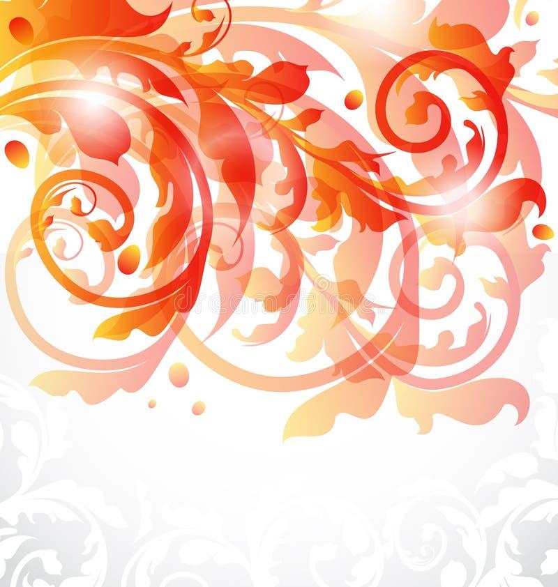 Dekorative mit Blumenkarte, Herbsthintergrund stock abbildung
