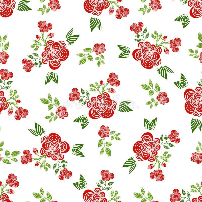 Dekorative nahtlose Muster mit roten Rosen, Blättern und Niederlassungen stock abbildung