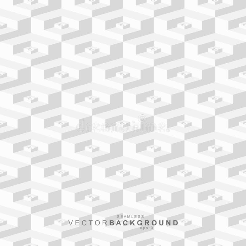 Dekorative nahtlose sechseckige Beschaffenheit der wei?en und grauen Fliese Geometrischer polygonaler Hintergrund Keramisches Mus stock abbildung