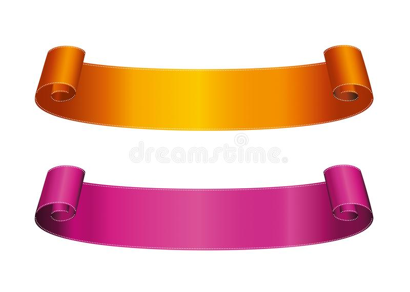 Dekorative orange und purpurrote Bandfahne mit Kopienraum, Isolator lizenzfreie abbildung