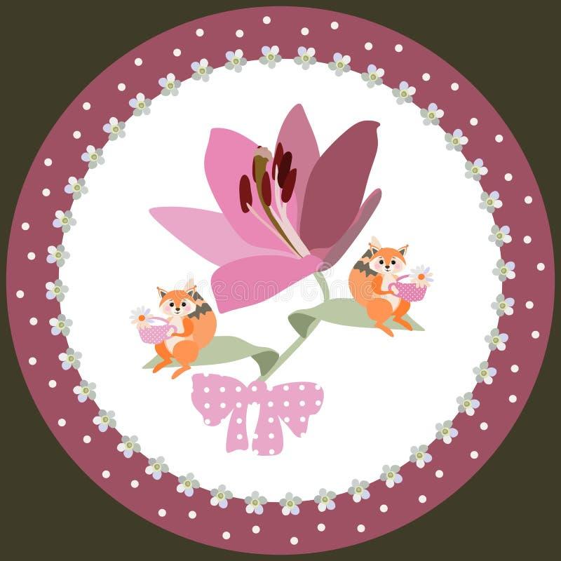 Dekorative Platte f?r Kinder Gro?e purpurrote Lilie Kleine Eichh?rnchen sitzen auf ihren kleinen Bl?ttern und trinkenden Kamillen stock abbildung