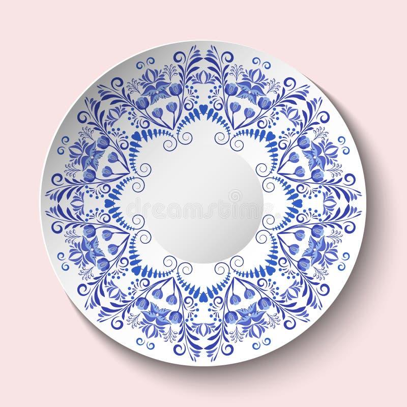 Dekorative Platte mit blauer Blumenverzierung in einem Kreis Leerer Raum in der Mitte Die ethnische Art der Porzellanmalerei stock abbildung