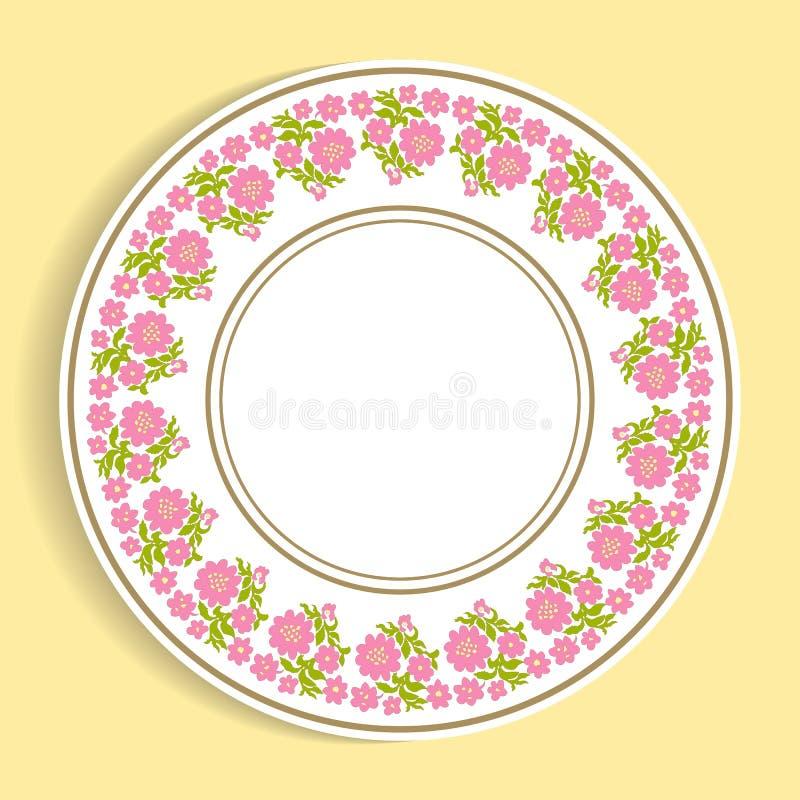 Dekorative Platte mit einem Kreismuster Auch im corel abgehobenen Betrag vektor abbildung