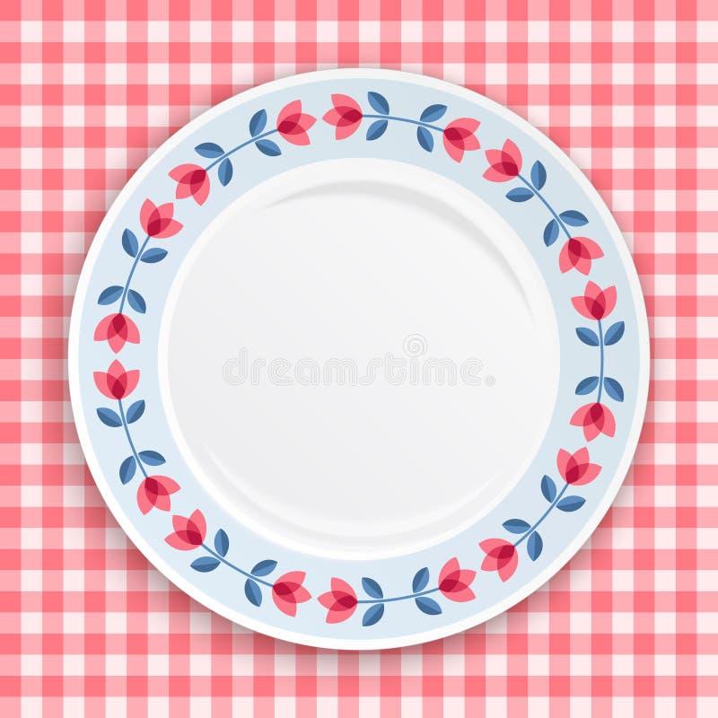 Dekorative Platte mit Tulpenmuster, Draufsicht über rosa Ginghamhintergrund stock abbildung