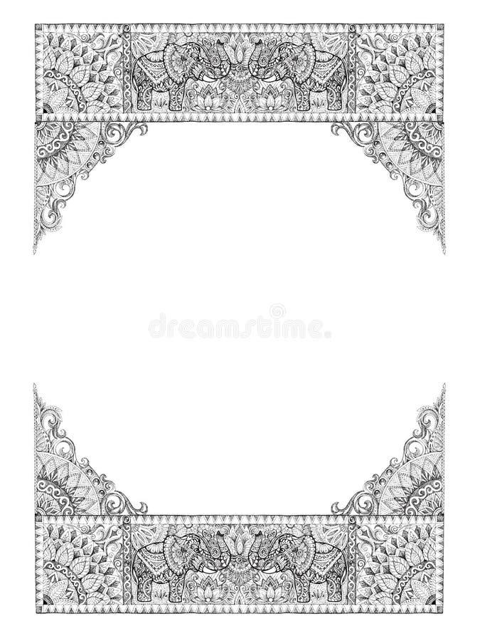 Dekorative Rahmen für Karten, Heiratseinladungen, Menüs, Tätowierung lizenzfreie abbildung