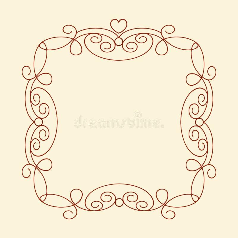 Dekorative Rahmen mit Herzen weinlese Gut gebaut für das einfache Redigieren Auch im corel abgehobenen Betrag lizenzfreie abbildung