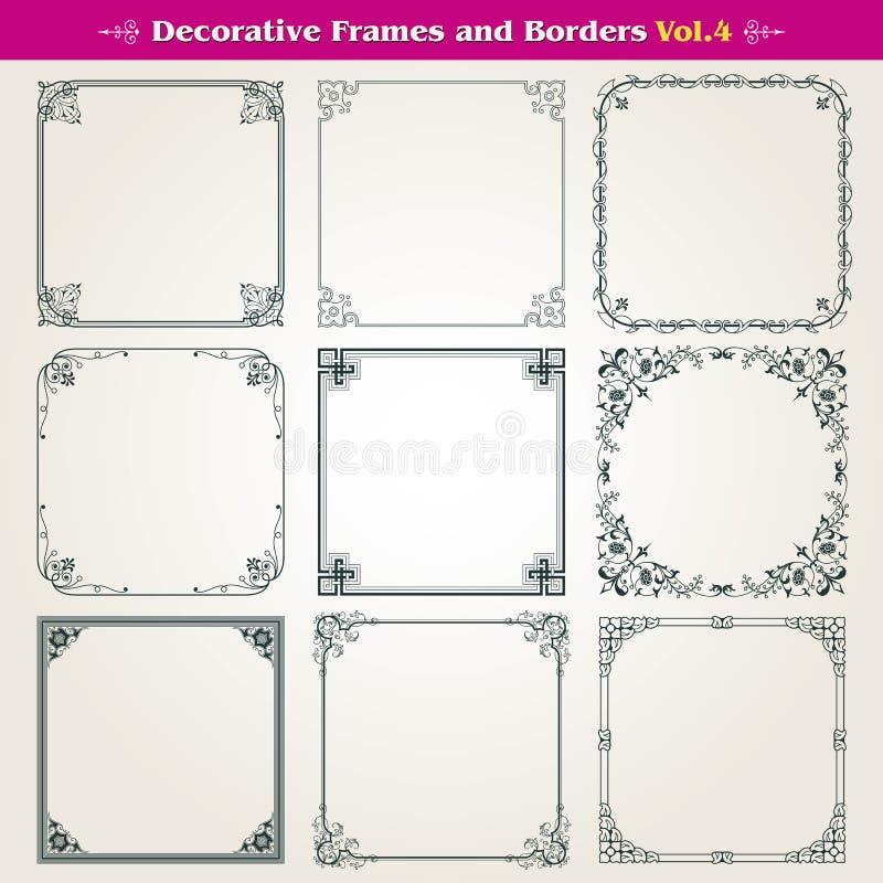 Dekorative Rahmen und Grenzen eingestellter Vektor stock abbildung