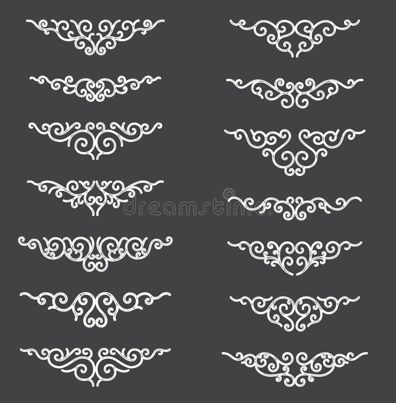 Dekorative Richtlinienzeilen Dekorative Vektor-Gestaltungselemente - Vektor Grenze und Teiler Flacher Effekt der Reflexion lizenzfreie abbildung
