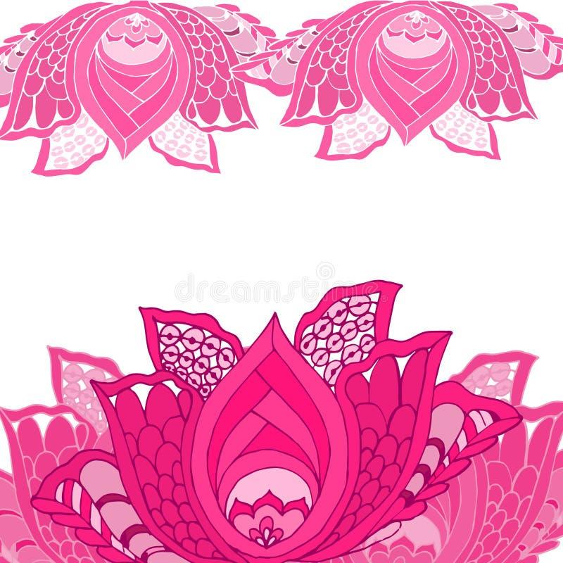 Dekorative rosa Lotus-Blume mit Blättern lizenzfreies stockbild