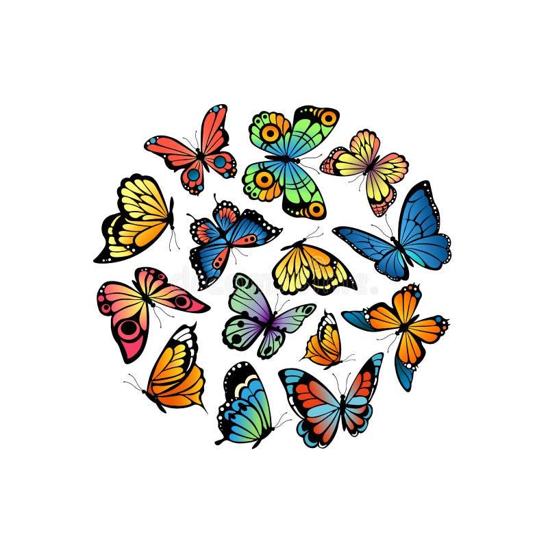Dekorative Schmetterlinge des Vektors in der Kreisformillustration lizenzfreie abbildung