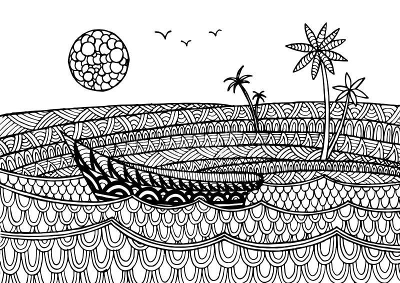 Dekorative Seelandschaft mit einem Boot stock abbildung