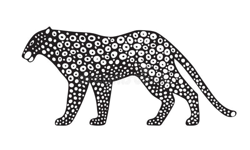 Dekorative stilisierte Jaguarwildkatze Gezeichnetes Bild des Vektors Hand Getrennt auf weißem Hintergrund vektor abbildung