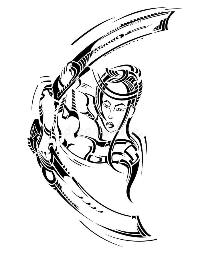 Dekorative Tätowierung mit Samurai und Klinge-butterf stock abbildung