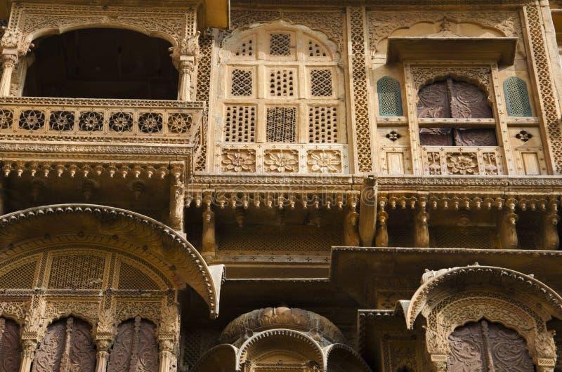 Dekorative ?u?ere Ansicht von Patwon Ki Haveli, Jaisalmer, Rajasthan, Indien lizenzfreies stockbild