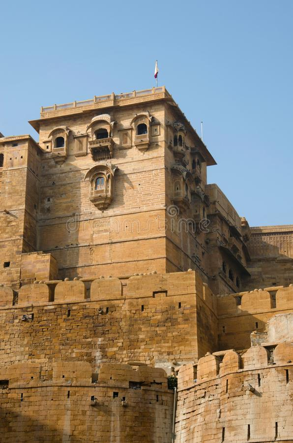 Dekorative ?u?ere Wand des Forts, Jaisalmer, Rajasthan, Indien stockbilder