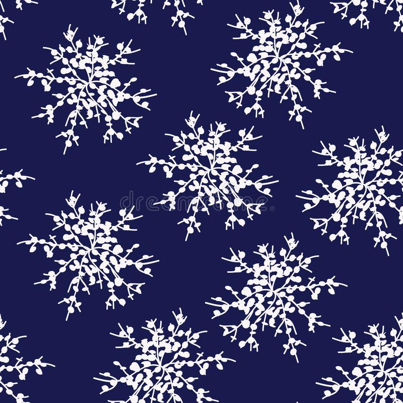 Dekorative Vektor Schneeflocken oder Blumensatz - Winter-Reihenclipart vektor abbildung
