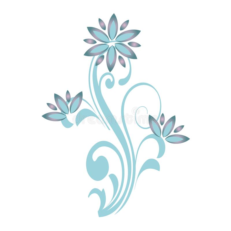Dekorative Verzierungen der Blumenkurve Blaue Blumenniederlassung Vektorabbildung getrennt auf weißem Hintergrund lizenzfreie abbildung