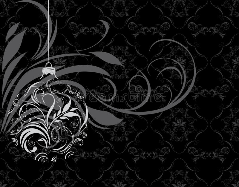 Dekorative Weihnachtskugel auf dem schwarzen Hintergrund lizenzfreie abbildung