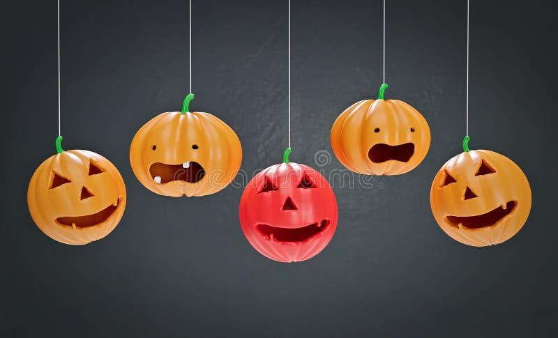 Dekorative Wiedergabe Halloween-Kürbise 3d lizenzfreie abbildung