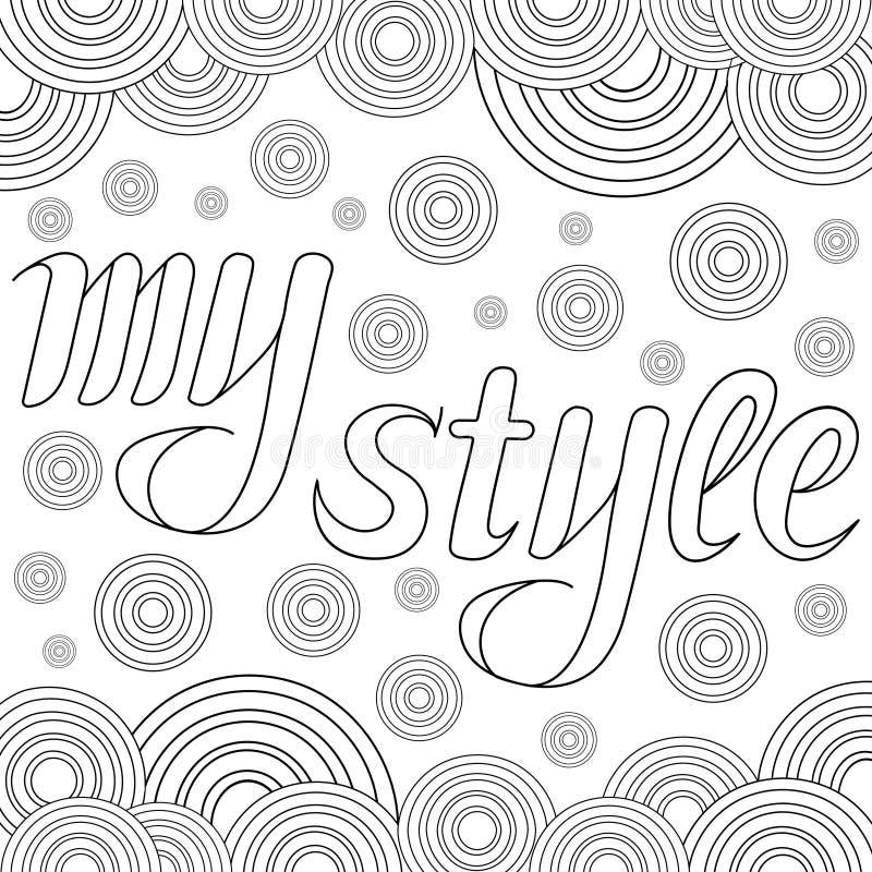 Dekorative Zeichnung mit Text meine Art Zentangle stock abbildung