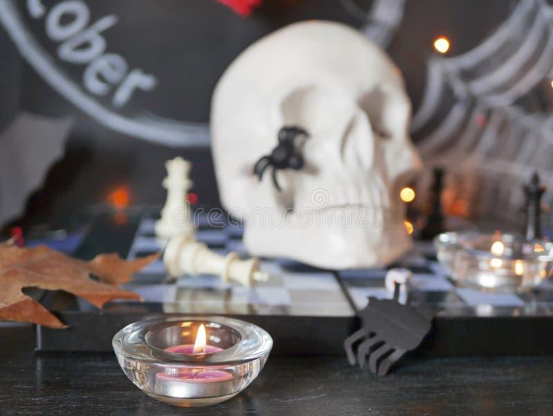 Dekorative Zusammensetzung für Innenausstattung für Halloween stockfoto