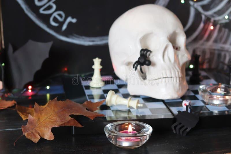 Dekorative Zusammensetzung für Innenausstattung für Halloween lizenzfreies stockbild
