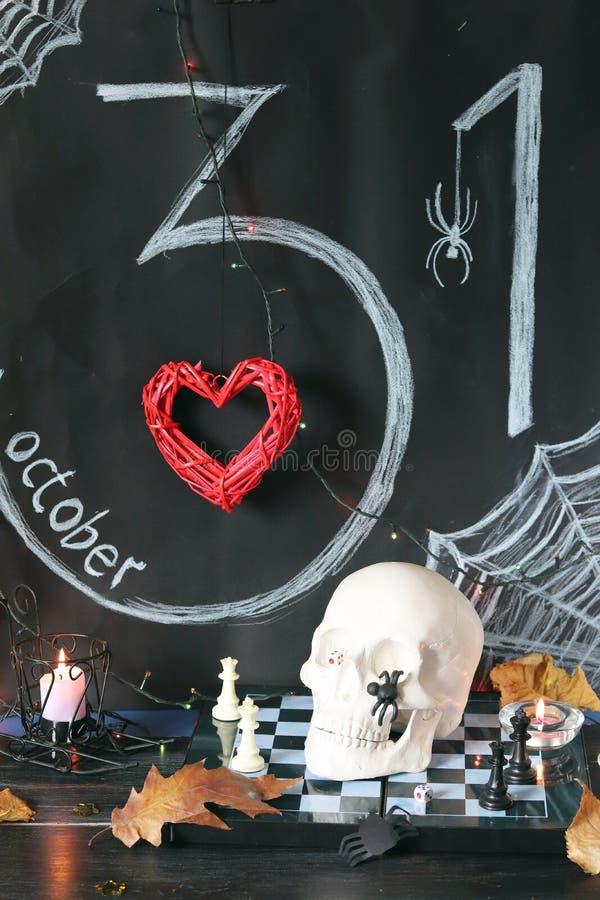 Dekorative Zusammensetzung für Innenausstattung für Halloween lizenzfreie stockbilder