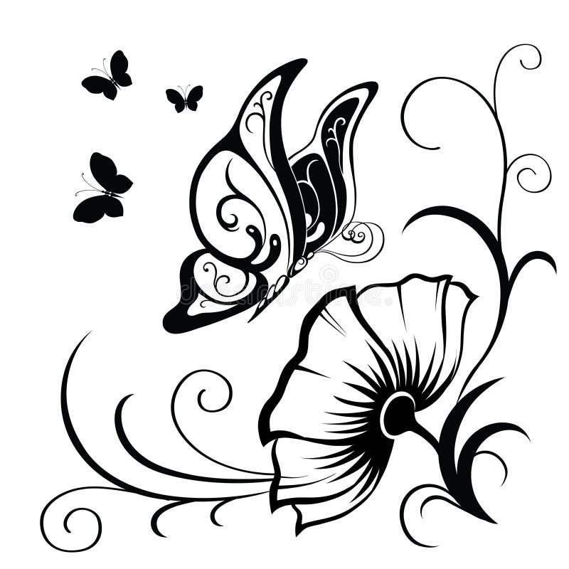 Dekorative Zusammensetzung von Locken, von Blume und von verzierter Zusammenfassung lizenzfreie abbildung