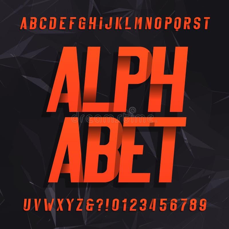 Dekorativer Alphabetvektorguß Schiefe Buchstabesymbole und -zahlen auf einem dunklen abstrakten Hintergrund stock abbildung