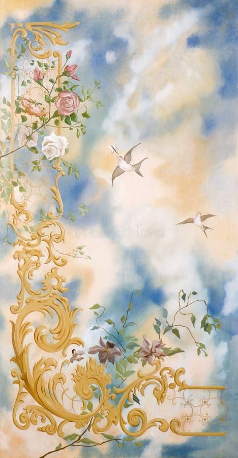 Dekorativer Anstrich der Himmelvögel und -blumen stockbild