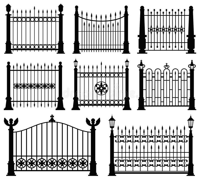 Dekorativer bearbeiteter Zaun- und Torvektorsatz lizenzfreie abbildung