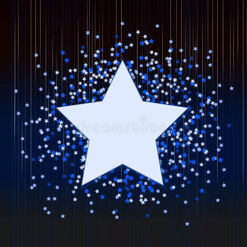 Dekorativer blauer Hintergrund mit Konfettis von den Sternen vektor abbildung