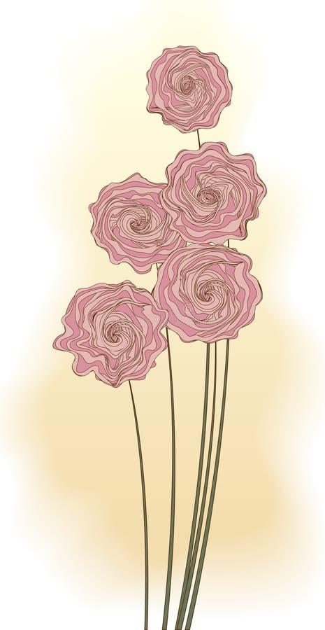 Dekorativer Blumenstrauß der rosafarbenen Blumen stock abbildung