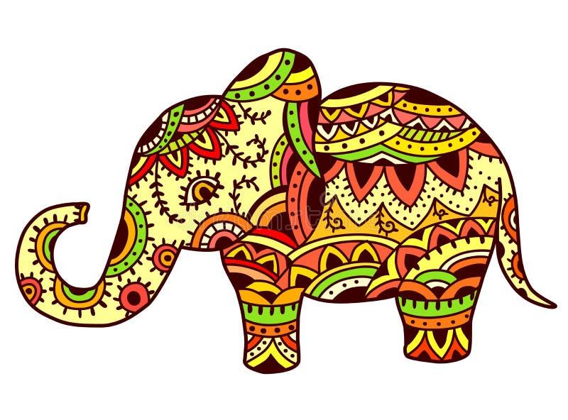 Dekorativer Elefant im ethnischen Muster stock abbildung