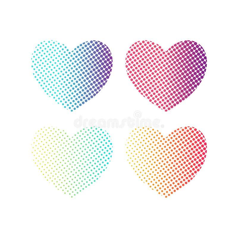 Dekorativer Elementsatz der Halbtonherzen Helles Steigung Herzsymbol auf weißem Hintergrund Valentine Day-Netzikone lizenzfreie abbildung