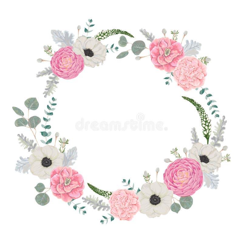 Dekorativer Feiertagskranz stellte mit Blumen, Blättern und Niederlassungen ein Karte mit Rahmen für Ihr Desing lizenzfreie abbildung