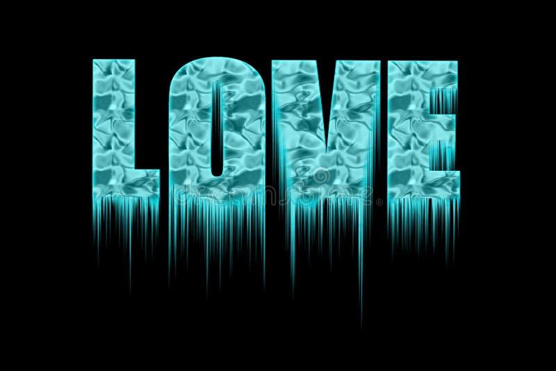 Dekorativer gefrorener Text - Liebe - mit Eiszapfen stockfotos
