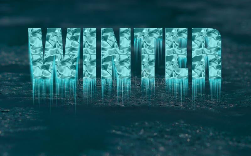Dekorativer gefrorener Text - Winter - mit Eiszapfen stockbilder