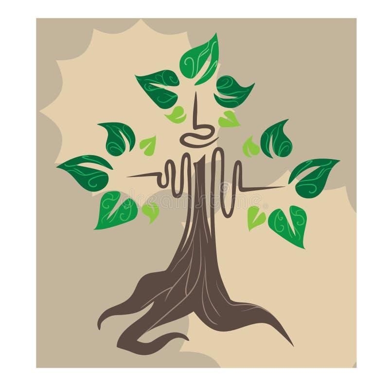 Dekorativer grüner Baum auf dem Kaffeehintergrund stock abbildung