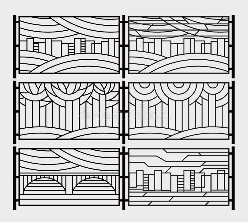Dekorativer Grill für einen Zaun oder ein Kamingitter Stilisierte Stadt, Fluss, Brücke, Himmel, Bäume im Park lizenzfreie abbildung