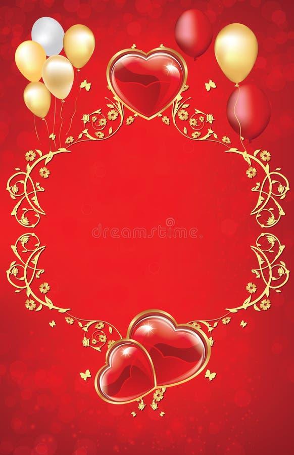 dekorativer hintergrund der roten blume mit herzen und ballonen vektor abbildung bild 64394305. Black Bedroom Furniture Sets. Home Design Ideas