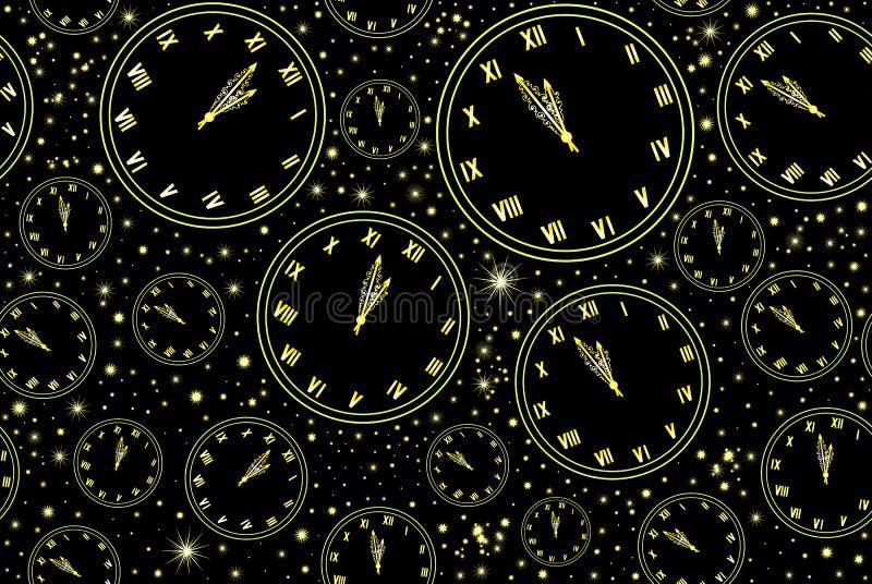 Dekorativer Hintergrund des Weihnachtsvektors mit Wörter guten Rutsch ins Neue Jahr! , glänzender verzierter Weihnachtsbaum und S vektor abbildung