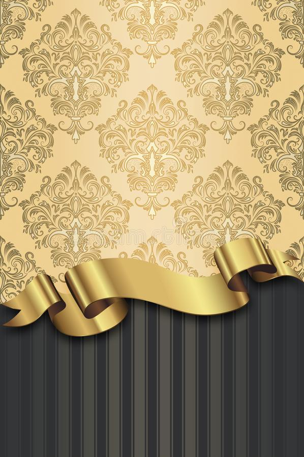 Dekorativer Hintergrund mit Weinlesemustern und goldenem Band lizenzfreie abbildung