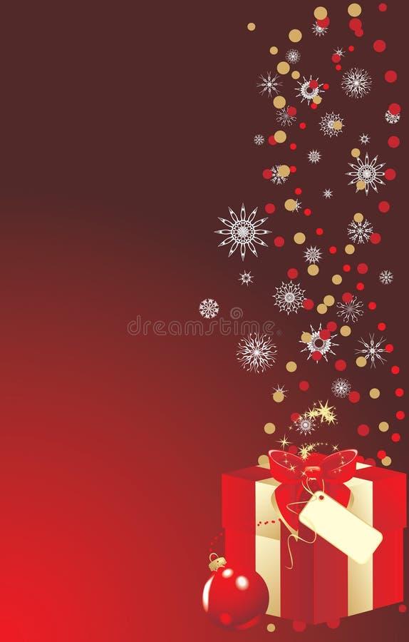 Dekorativer Kasten mit Bogen und Weihnachtskugel. Karte stock abbildung